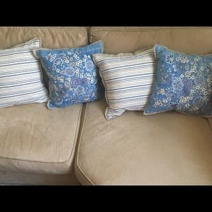 Pottery Barn Denim Embroidered Pillow Covers